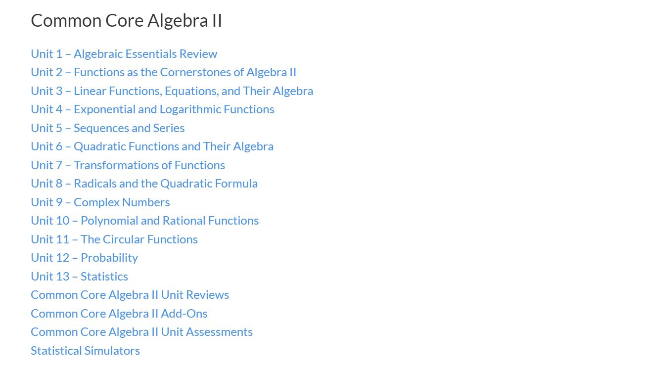 Kirks general rambling page 3 emathinstruction courses or on the courses header in the main banner it will take you to our convenient list of contents for each course heres common core algebra ii fandeluxe Image collections